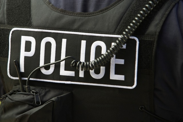 Close-up of police bulletproof vest